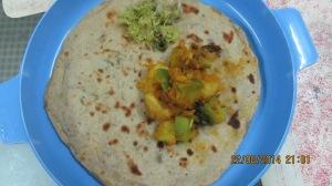 Avacado stuufed chappathi