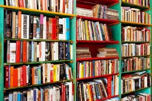 Angle shot of book shelf with big collection