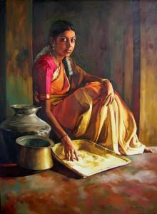 oil on canvas painted by artistelayarajamo:+919841170866